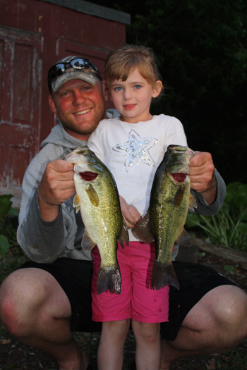 Local resident and former Owen Sound Attack Hockey enforcer Adam Smyth shared the boat with his daughter Grace during the Grey-Bruce Bass Club tournament on Boat Lake last month.  Grace managed to land some nice largemouth bass to help the Smyth team bring five fish to the scales.