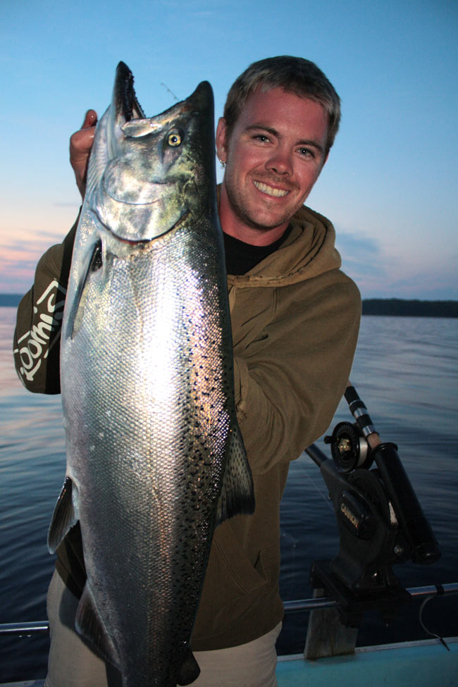 """Tom Hamilton of London Ontario landed this big Chinook last week while trolling near Owen Sound Bay.  Hamilton will be on the water again during derby, looking for the """"big one""""."""