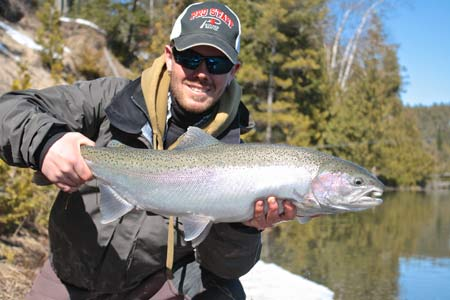 London resident Tom Hamilton traveled to a Bruce County river to sample some spring steelhead fishing this week.  This trout was caught and released in a recently melted section of river.